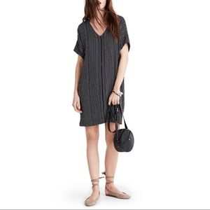Madewell Novel Stripe V-neck Shit Dress Black XXS